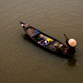 Fisherman by George Watson - People Street & Candids ( water, fisherman, boat, hat, river )