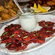 Sweet Potato And Beet Fritters With Herbed Buttermilk Dip