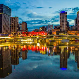 Skyline at Dawn by Tracy James - City,  Street & Park  Skylines ( lights, mirror, skyline, queensland, australia, brisbane, buildings, city,  )