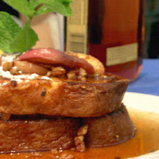 White Peach-Bourbon French Toast with White Peach-Pecan Maple Syrup
