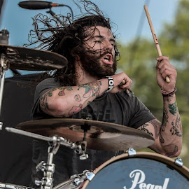 pop evil 2014 by Christian Mayberry - People Musicians & Entertainers ( music, concert, christian, photograph, photojournalism, drummer, drums, people, photography, amazing, band, great, awesome, blue, happy, nikon )