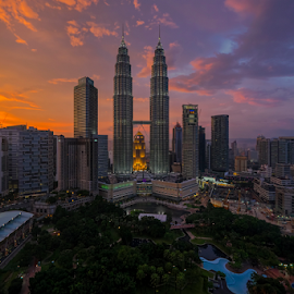 Epic Sunset over KLCC by Nur Ismail Mohammed - Buildings & Architecture Office Buildings & Hotels ( klcc, epic, colourful, sunset, klcc park, petronas, twin towers )