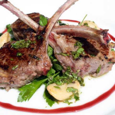 Grilled Lamb Chops with Port Syrup, Garlic Confit, and Sauce Vierge 'Persillade'