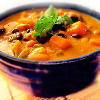 Karina's African Sweet Potato Soup Recipe with Peanut Butter, Black-eyed Peas and Beans