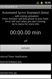 Automated Sprint Stopwatch - screenshot