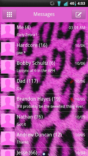 GO SMS Pink Cheetah Theme