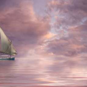 Dreamy Sea by Matej Skubic - Digital Art Places ( sea boaat man bird sunseat )