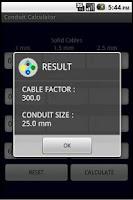 Screenshot of CONDUIT SIZE CALCULATOR BS7671