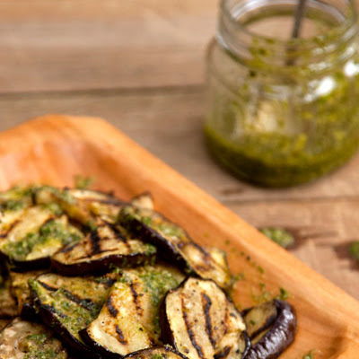 Grilled Eggplant with Basil Vinaigrette