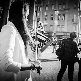 The Violinists by Zaki Marican - City,  Street & Park  City Parks ( musical instrument, violin, street, lady, musician, street scenes, street photography )