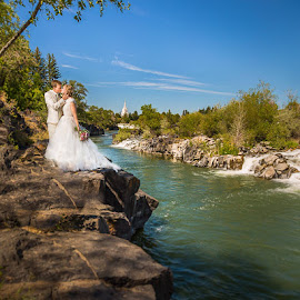 Falls In Idaho by Glenn Pearson - Wedding Bride & Groom ( idaho falls )