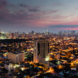 Makati City Skyline by Loui Luis - City,  Street & Park  Skylines ( cityscapes, skyline, sunset, nightscapes,  )