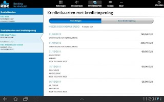 Screenshot of KBC Mobile Banking for Tablet