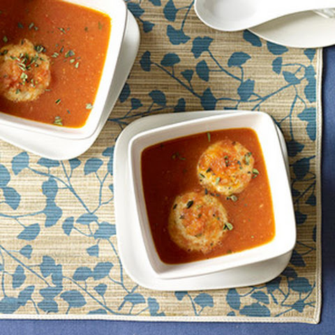 Tomato Soup with Cheese Dumplings