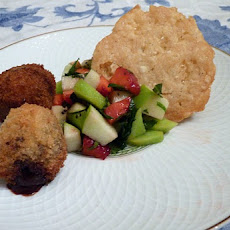 Chocolate Falafel with Fruit Salad and Parmesan Cheese Tuile