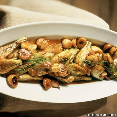 Braised Fennel with Chestnuts and Shallots