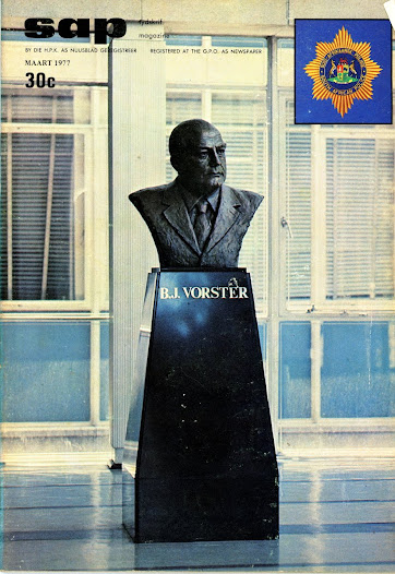 The bronze bust of B.J. Vorster in the foyer of John Vorster Square on the cover of the SAP magazine of March 1977
