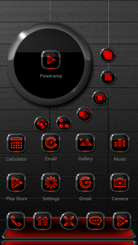 Next Launcher Theme Neon Red Screenshot 1