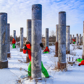Many Joshes - Rosemount Pillars by Bill Kuhn - Digital Art People ( rosemount, minnesota, wwii, multiple exposure, snow, fun, composite, pillars )