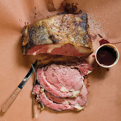 Smoked Prime Rib With Peach-Chipotle Sauce