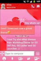 Screenshot of GO SMS Pink Theme Kitty