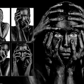Taong Grasa by Íce Zorrilla - Digital Art People ( blackandwhite, model, girl, woman, white, paint, blackice, bodypaint, black,  )