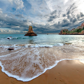 Beauport Bay by Nick Venton - Landscapes Beaches ( clouds, sand, cliffs, sky, jersey, sea, ocean, beach, rocks )