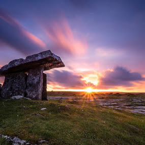 Poulnabrone Dolmen by Ryszard Lomnicki - Landscapes Sunsets & Sunrises ( cliffs, ireland, poulnabrone dolmen, burren, colorful, galway, mood, sassy, scenic, lights, lighting, pink, colored, artificial, the mood factory, , #GARYFONGDRAMATICLIGHT, #WTFBOBDAVIS, breast cancer awareness, mood factory, hot pink, scents, color, mood-lites, brighten our world )