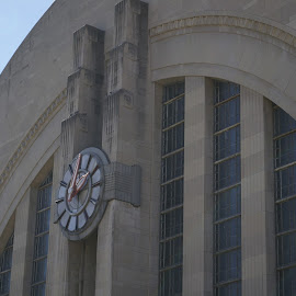 The Clock on Union Terminal by Pat Lasley - Buildings & Architecture Public & Historical ( train station, architectural detail, museum, architecture, art deco, historic )