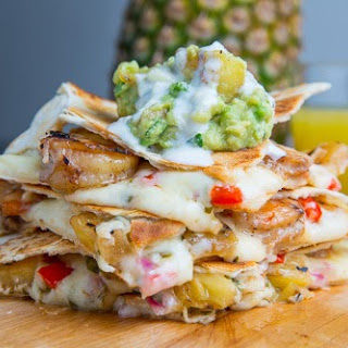 Jerk Shrimp and Pineapple Salsa Quesadillas with Pina Colada Guacamole
