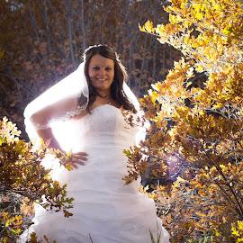 Angelic Bride by Gennaveeve Ibarra - Wedding Bride ( fall colors, autumn, fall bridals, bride in fall colors, outdoor bridals )