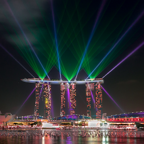 City of Light by Ah Chun - Landscapes Travel ( bay, marina sand bay, laser, museum, hotel, light )