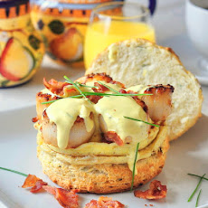 Scallops Benedict on Chive Buttermilk Biscuits with Brown Butter Hollandaise