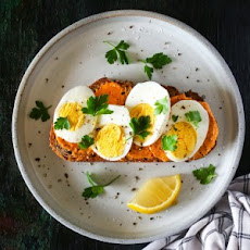 Hard-Boiled Egg Toast with Harissa Butter