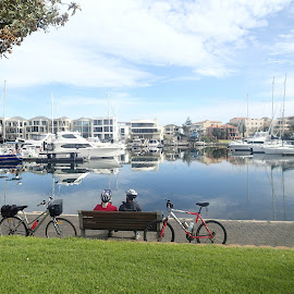 Enjoying the calm by Pamela Howard - City,  Street & Park  Neighborhoods ( water, calm, bikes, boats, marina )