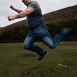 Football by Marc Steele - People Portraits of Men ( countryside, frozen in time, kick, england, person, woodhead, action, portrait, peak district, derbyshire, jump )