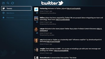 Screenshot of Twitter for Google TV