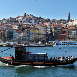 City of Porto by Antonio Amen - City,  Street & Park  Historic Districts ( boats rabelos, river douro, portugal, porto )