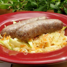 Beer Braised Bratwurst With Sauerkraut