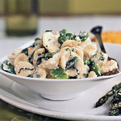 Orecchiette with Fresh Fava Beans, Ricotta, and Shredded Mint