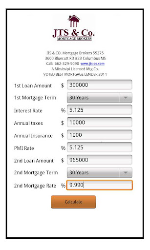 JTS Co. Mortgage Calculator