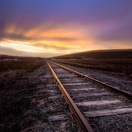 Where the railroad leads by Nick Page - Landscapes Travel ( railway, sunset )