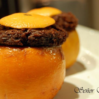 Oranges Stuffed with Chocolate Sponge Cake