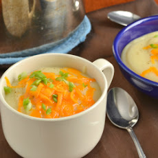 Lighter Baked Potato and Cauliflower Soup