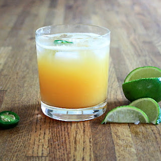 Hot Pepper Infused Fresh Peach Margarita