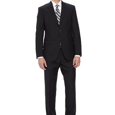 Neiman Marcus Two-Piece Italian Wool Suit, Navy - (41R)