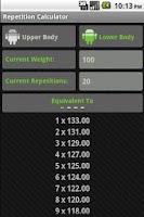Screenshot of Rep Calc Lite (1 Rep Max)