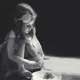 by Sare Moonfruit - Babies & Children Children Candids ( child, cake, black and white, childhood, shade, light, christening, portrait )
