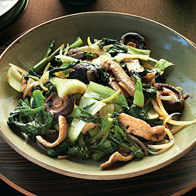 Stir-fried Greens with Pork, Shiitakes, and Black Bean Sauce