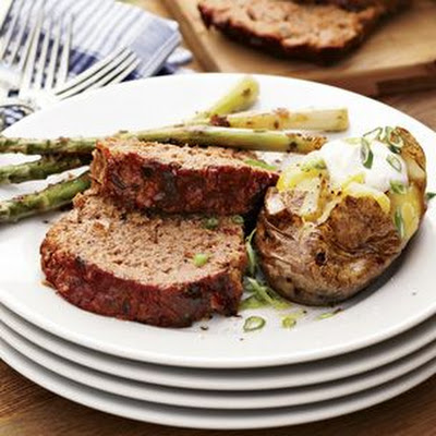 Grilled Barbecue Meatloaf with Balsamic-Marinated Asparagus
